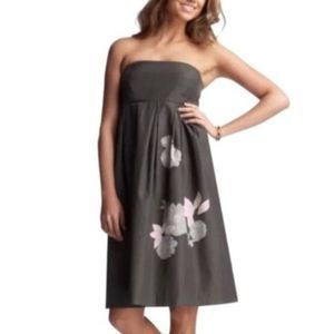 GAP Silk Strapless Empire Waist Gray Floral Dress